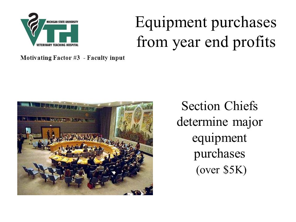 Equipment purchases from year end profits Section Chiefs determine major equipment purchases (over $5K) Motivating Factor #3 - Faculty input