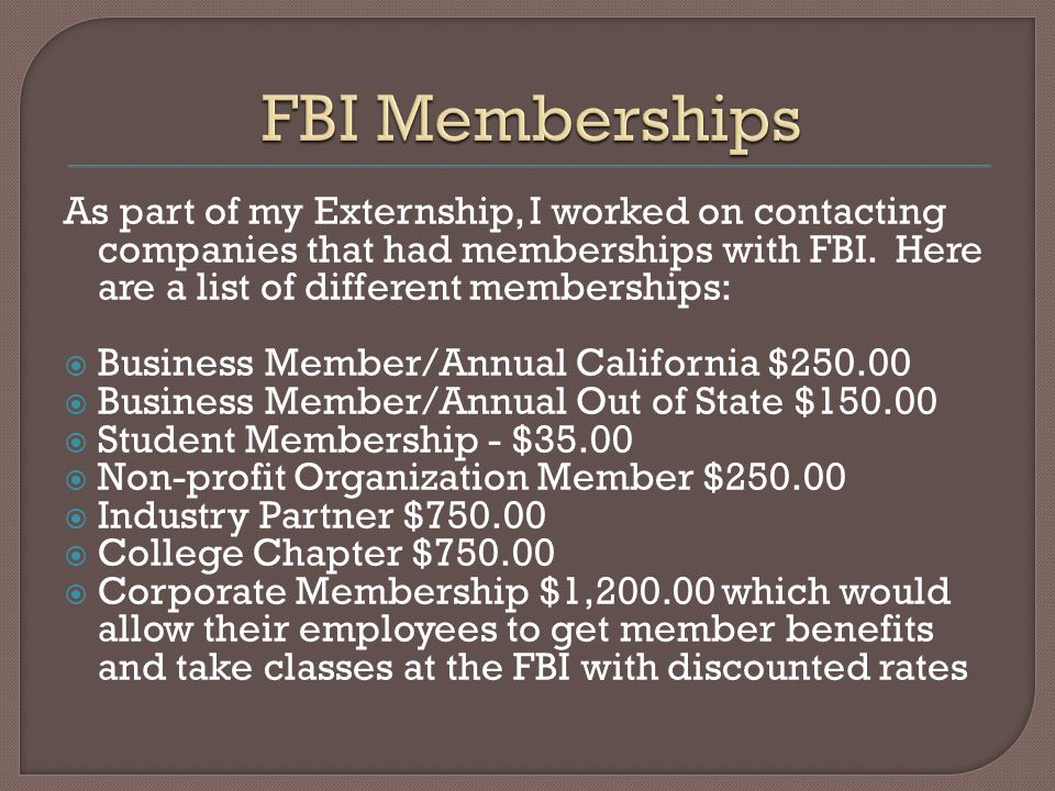 As part of my Externship, I worked on contacting companies that had memberships with FBI.