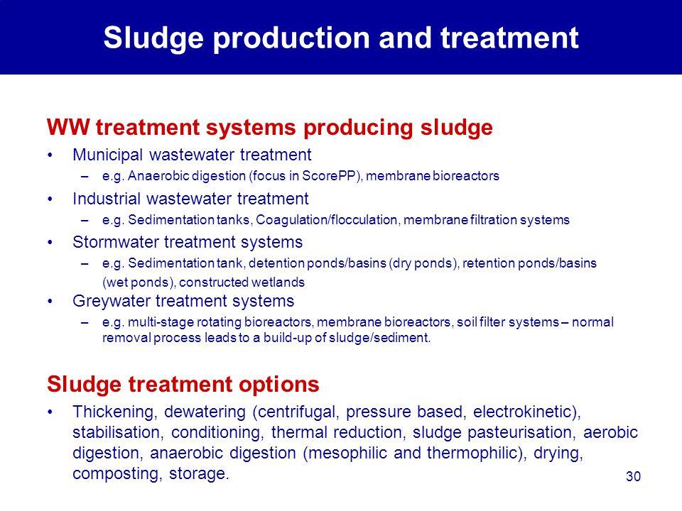 30 WW treatment systems producing sludge Municipal wastewater treatment –e.g.