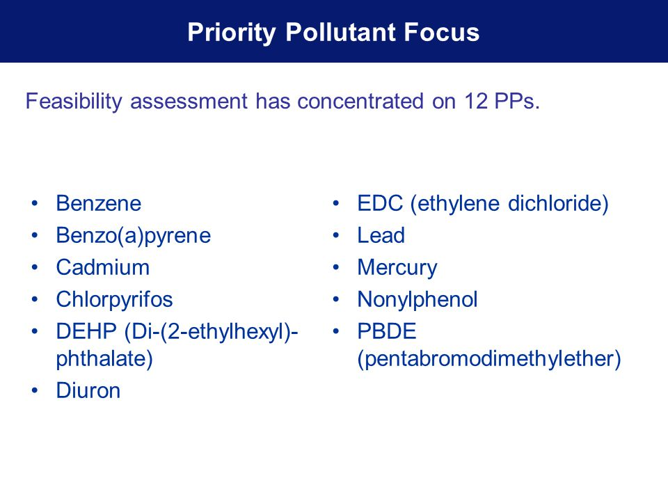 Benzene Benzo(a)pyrene Cadmium Chlorpyrifos DEHP (Di-(2-ethylhexyl)- phthalate) Diuron EDC (ethylene dichloride) Lead Mercury Nonylphenol PBDE (pentabromodimethylether) Priority Pollutant Focus Feasibility assessment has concentrated on 12 PPs.