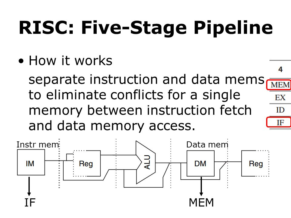 RISC: Five-Stage Pipeline How it works separate instruction and data mems to eliminate conflicts for a single memory between instruction fetch and data memory access.
