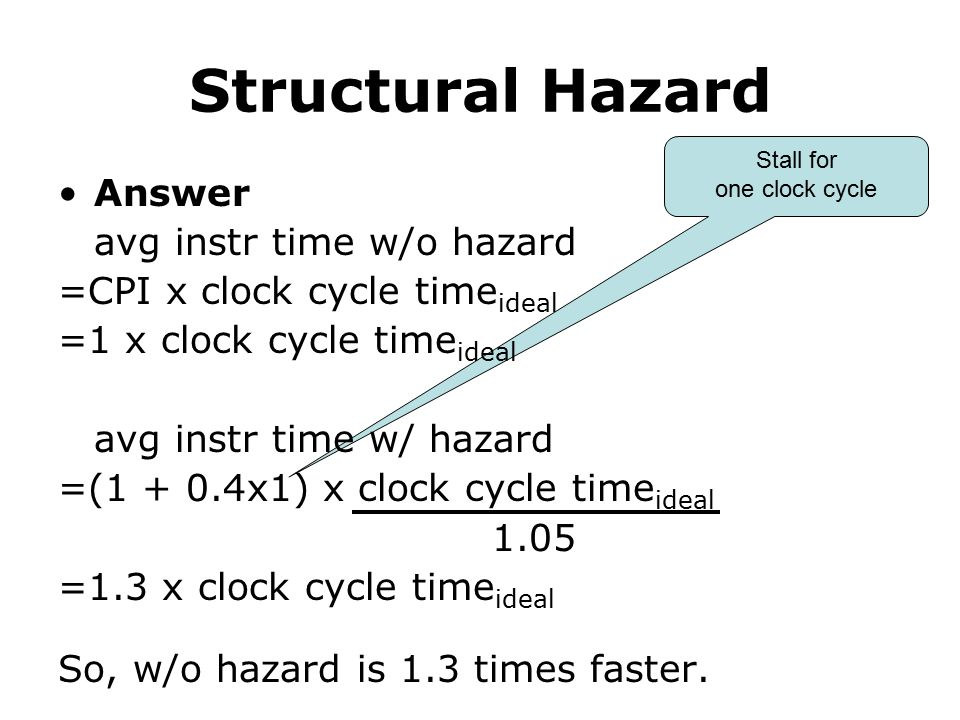 Stall for one clock cycle Structural Hazard Answer avg instr time w/o hazard =CPI x clock cycle time ideal =1 x clock cycle time ideal avg instr time w/ hazard =(1 + 0.4x1) x clock cycle time ideal 1.05 =1.3 x clock cycle time ideal So, w/o hazard is 1.3 times faster.