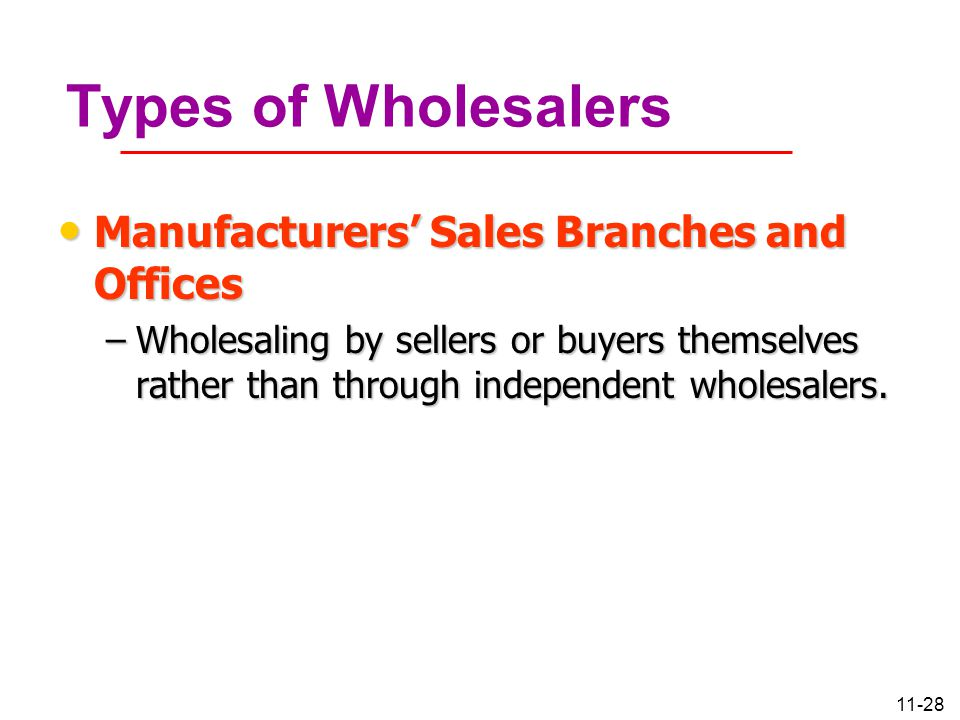 11-28 Types of Wholesalers Manufacturers' Sales Branches and Offices Manufacturers' Sales Branches and Offices –Wholesaling by sellers or buyers thems