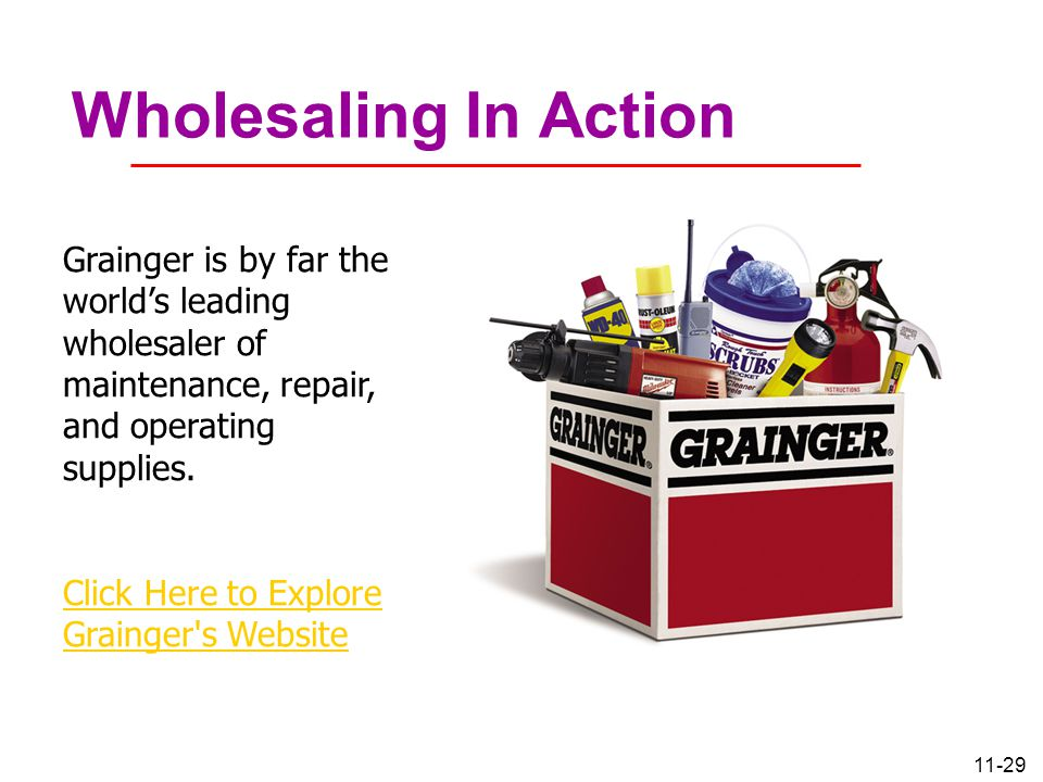 11-29 Wholesaling In Action Grainger is by far the world's leading wholesaler of maintenance, repair, and operating supplies. Click Here to Explore Gr
