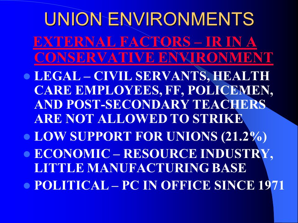 UNION ENVIRONMENTS EXTERNAL FACTORS – IR IN A CONSERVATIVE ENVIRONMENT LEGAL – CIVIL SERVANTS, HEALTH CARE EMPLOYEES, FF, POLICEMEN, AND POST-SECONDARY TEACHERS ARE NOT ALLOWED TO STRIKE LOW SUPPORT FOR UNIONS (21.2%) ECONOMIC – RESOURCE INDUSTRY, LITTLE MANUFACTURING BASE POLITICAL – PC IN OFFICE SINCE 1971