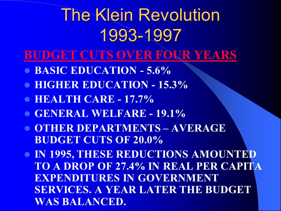 The Klein Revolution 1993-1997 BUDGET CUTS OVER FOUR YEARS BASIC EDUCATION - 5.6% HIGHER EDUCATION - 15.3% HEALTH CARE - 17.7% GENERAL WELFARE - 19.1%