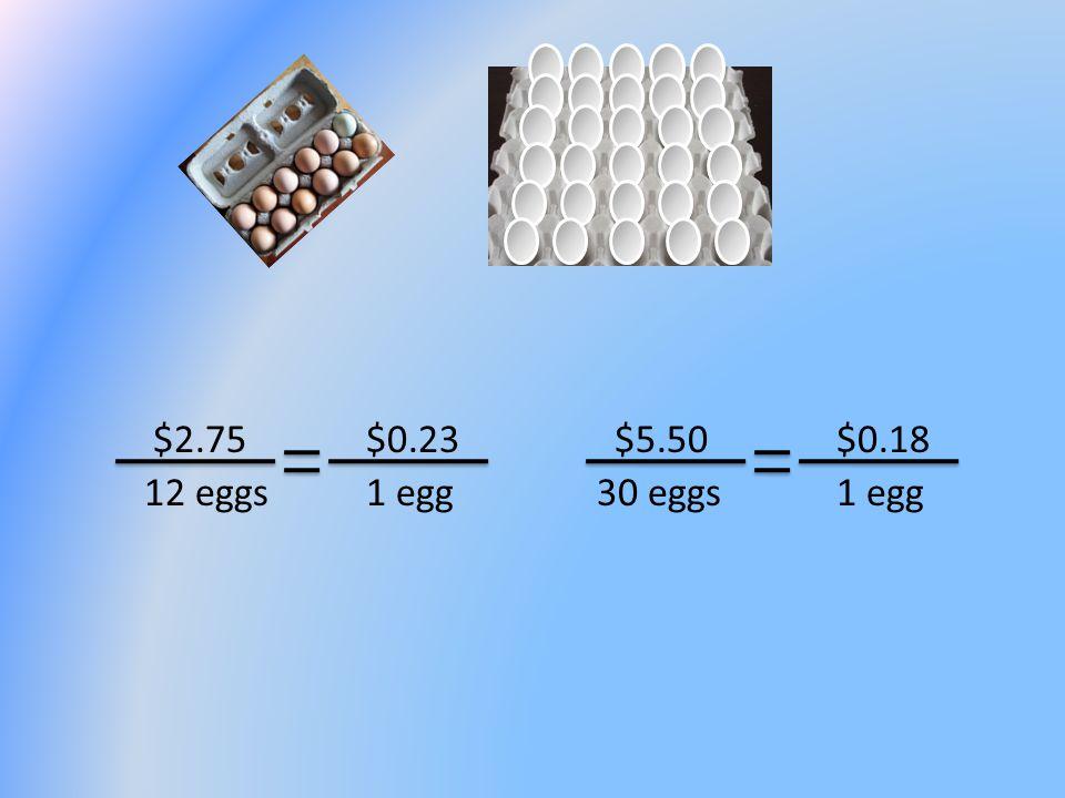 $2.75 12 eggs $5.50 30 eggs1 egg $0.23$0.18