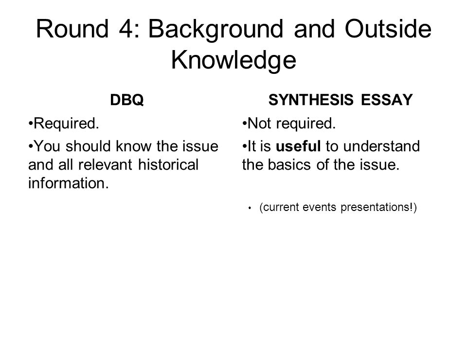 Round 4: Background and Outside Knowledge DBQ Required.