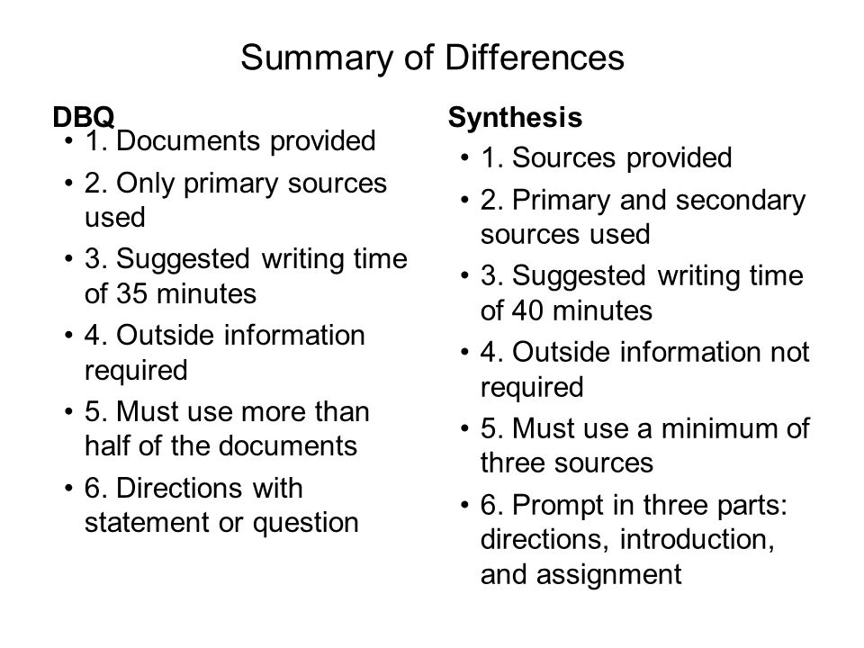 Summary of Differences DBQ 1. Documents provided 2.