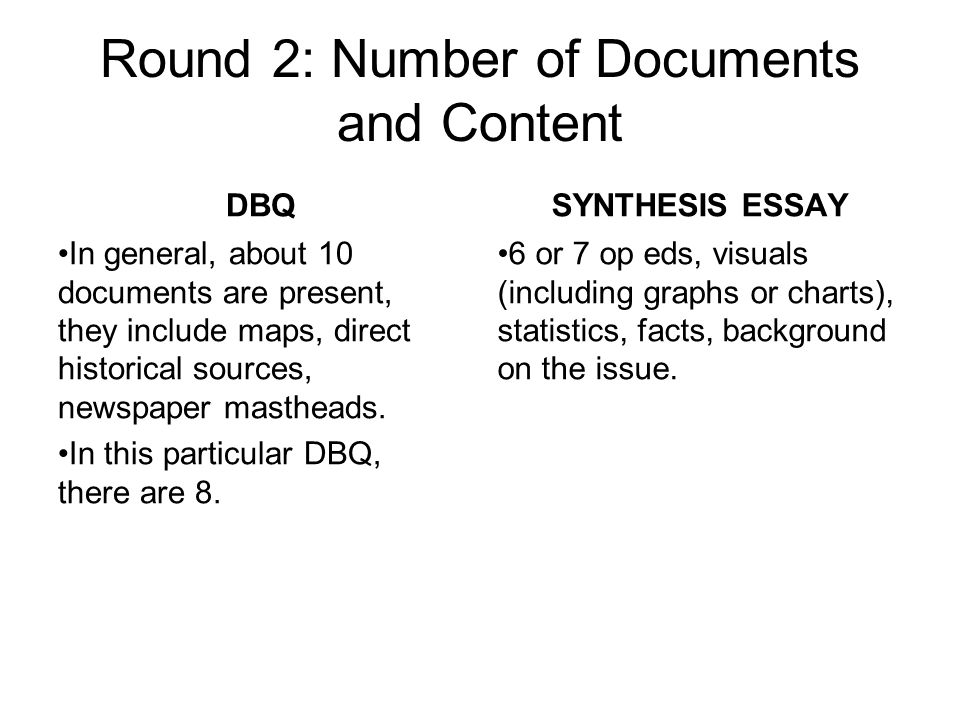 Round 2: Number of Documents and Content DBQ In general, about 10 documents are present, they include maps, direct historical sources, newspaper mastheads.