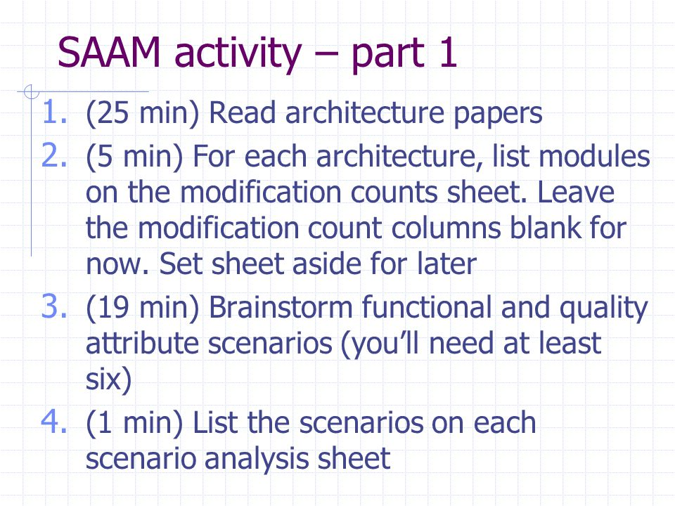 SAAM activity – part 1 1. (25 min) Read architecture papers 2.