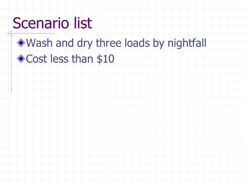 Scenario list Wash and dry three loads by nightfall Cost less than $10