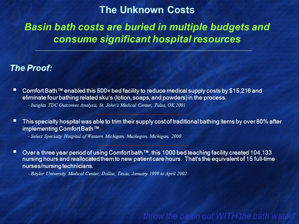  Comfort Bath™ enabled this 500+ bed facility to reduce medical supply costs by $15,216 and eliminate four bathing related sku's (lotion, soaps, and powders) in the process.