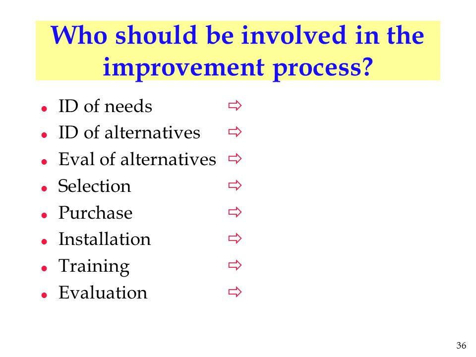 36 Who should be involved in the improvement process? l ID of needs l ID of alternatives l Eval of alternatives l Selection l Purchase l Installation