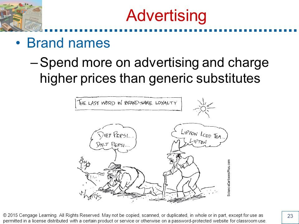 Advertising Brand names –Spend more on advertising and charge higher prices than generic substitutes © 2015 Cengage Learning. All Rights Reserved. May