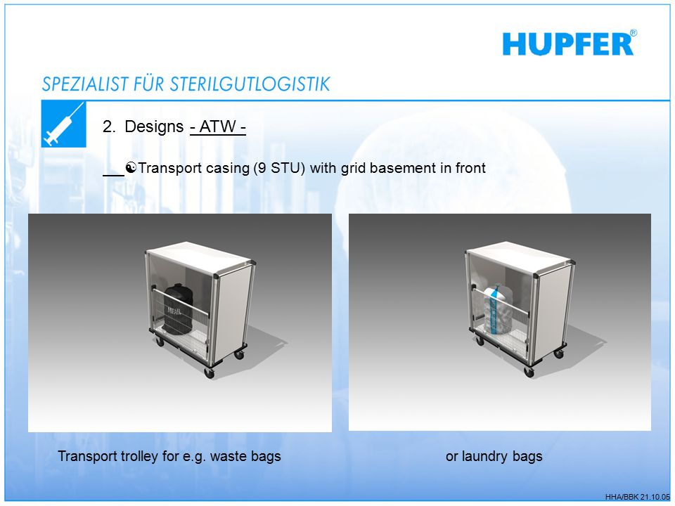 2.Designs - ATW -  Transport casing (9 STU) with grid basement in front Transport trolley for e.g.