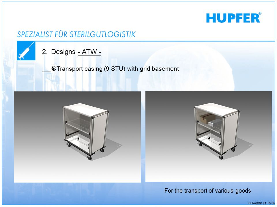 HHA/BBK 21.10.05 2.Designs - ATW -  Transport casing (9 STU) with grid basement For the transport of various goods