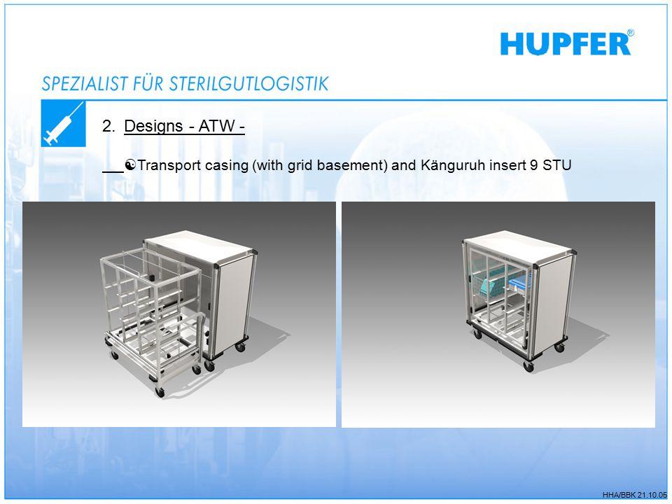 HHA/BBK 21.10.05 2.Designs - ATW -  Transport casing (with grid basement) and Känguruh insert 9 STU
