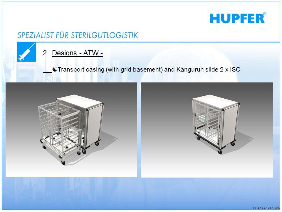 HHA/BBK 21.10.05 2.Designs - ATW -  Transport casing (with grid basement) and Känguruh slide 2 x ISO