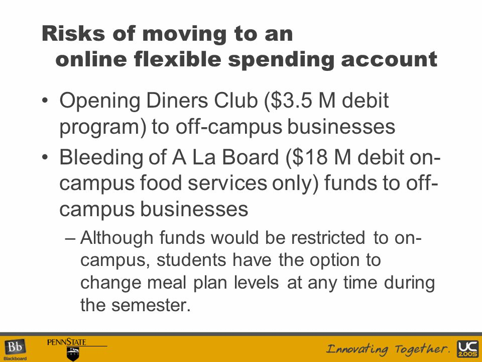 Risks of moving to an online flexible spending account Opening Diners Club ($3.5 M debit program) to off-campus businesses Bleeding of A La Board ($18 M debit on- campus food services only) funds to off- campus businesses –Although funds would be restricted to on- campus, students have the option to change meal plan levels at any time during the semester.