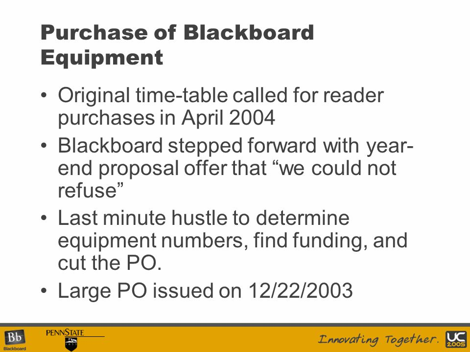 Purchase of Blackboard Equipment Original time-table called for reader purchases in April 2004 Blackboard stepped forward with year- end proposal offer that we could not refuse Last minute hustle to determine equipment numbers, find funding, and cut the PO.