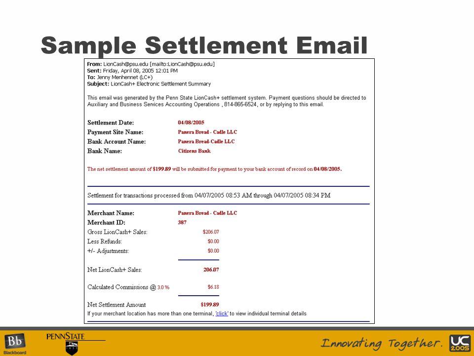 Sample Settlement Email
