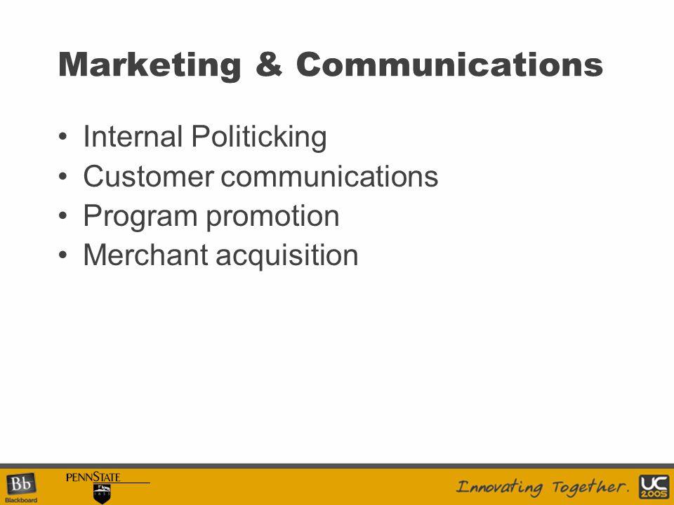 Marketing & Communications Internal Politicking Customer communications Program promotion Merchant acquisition