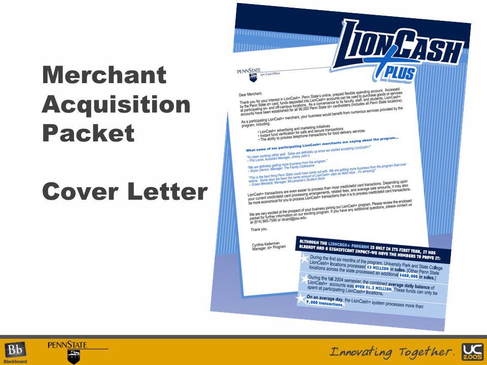 Merchant Acquisition Packet Cover Letter