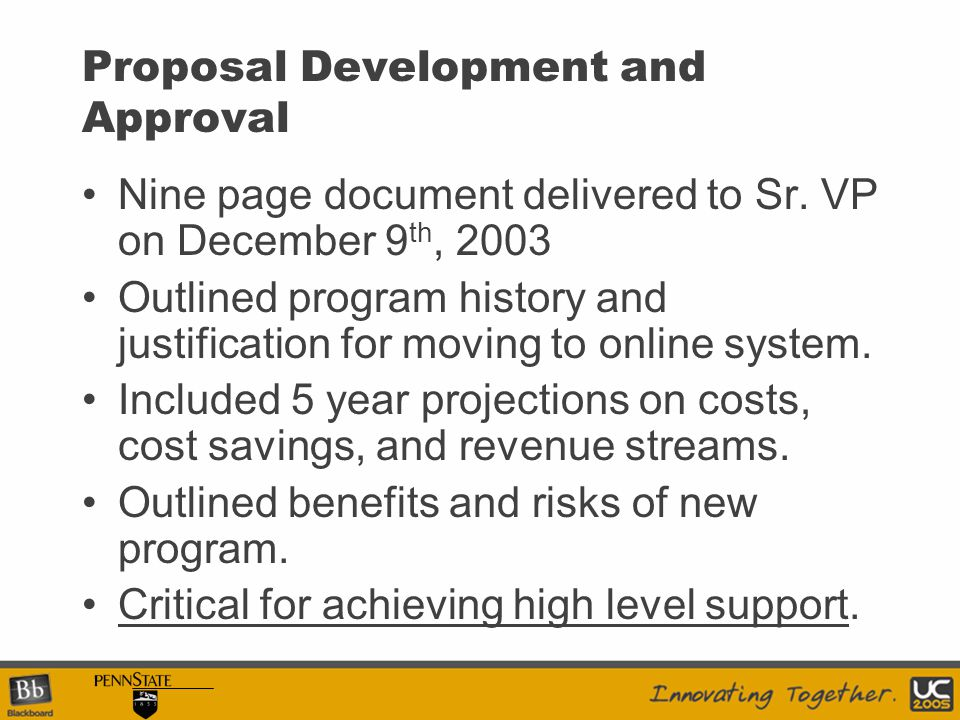 Proposal Development and Approval Nine page document delivered to Sr.