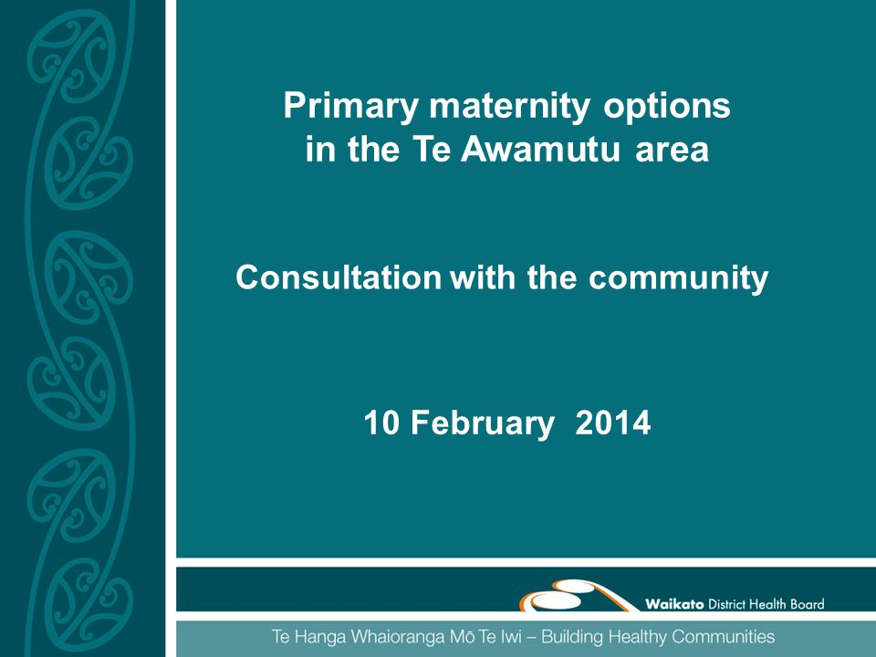 Primary maternity options in the Te Awamutu area 10 February 2014 Consultation with the community