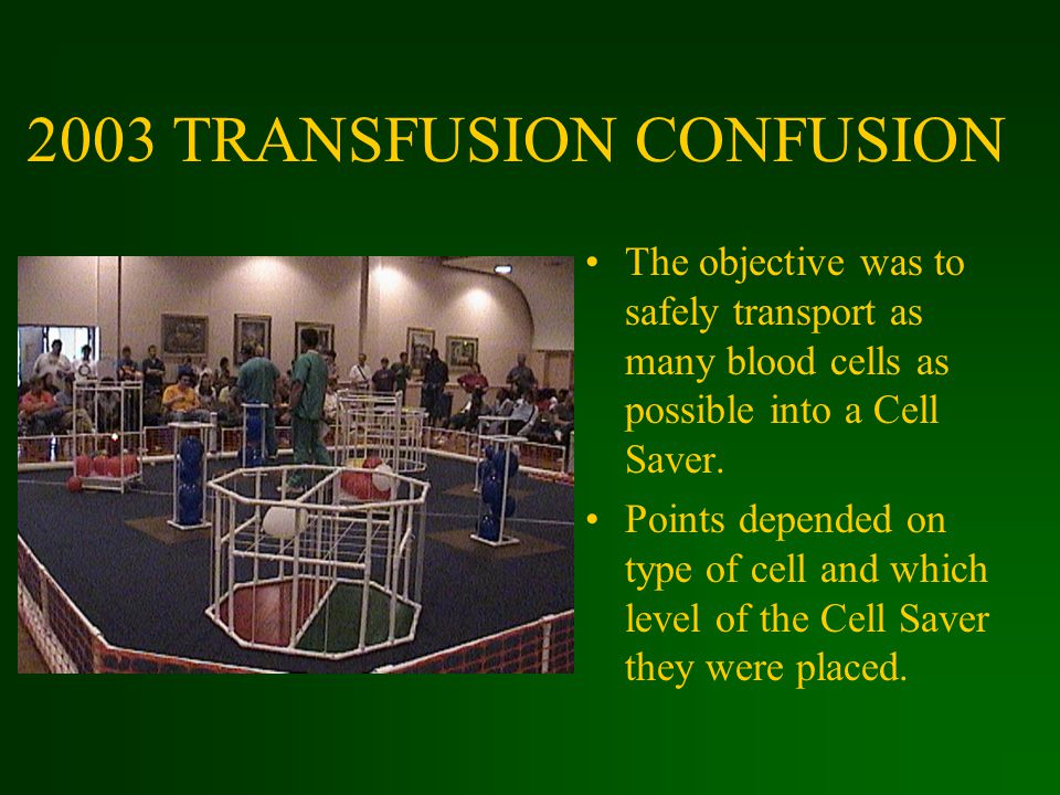 2003 TRANSFUSION CONFUSION The objective was to safely transport as many blood cells as possible into a Cell Saver.