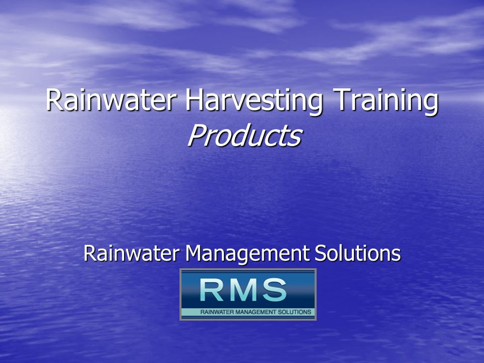 Rainwater Harvesting Training Products Rainwater Management Solutions
