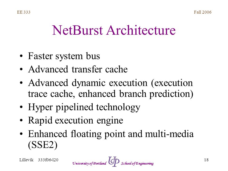 Fall 2006 18 EE 333 Lillevik 333f06-l20 University of Portland School of Engineering NetBurst Architecture Faster system bus Advanced transfer cache Advanced dynamic execution (execution trace cache, enhanced branch prediction) Hyper pipelined technology Rapid execution engine Enhanced floating point and multi-media (SSE2)
