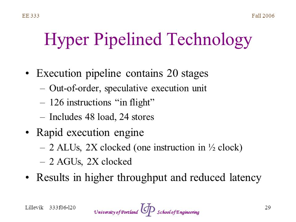 Fall 2006 29 EE 333 Lillevik 333f06-l20 University of Portland School of Engineering Hyper Pipelined Technology Execution pipeline contains 20 stages –Out-of-order, speculative execution unit –126 instructions in flight –Includes 48 load, 24 stores Rapid execution engine –2 ALUs, 2X clocked (one instruction in ½ clock) –2 AGUs, 2X clocked Results in higher throughput and reduced latency