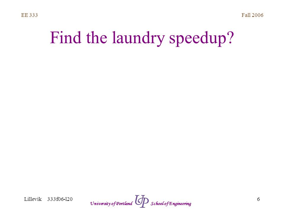 Fall 2006 6 EE 333 Lillevik 333f06-l20 University of Portland School of Engineering Find the laundry speedup