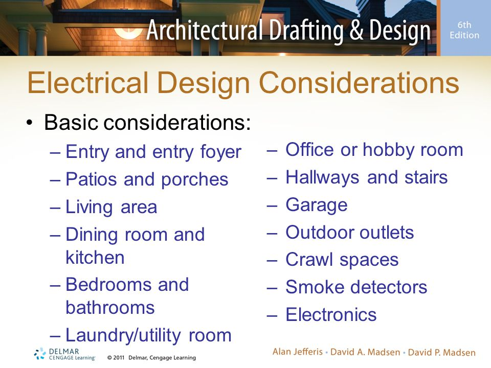 Electrical Design Considerations Basic considerations: –Entry and entry foyer –Patios and porches –Living area –Dining room and kitchen –Bedrooms and