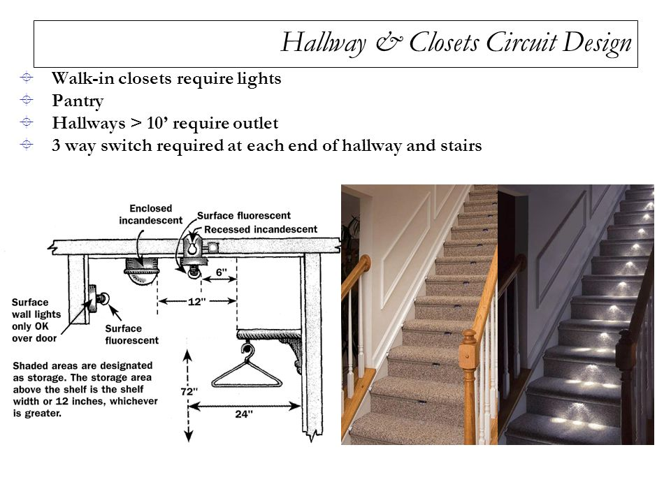 Hallway & Closets Circuit Design  Walk-in closets require lights  Pantry  Hallways > 10' require outlet  3 way switch required at each end of hallway and stairs