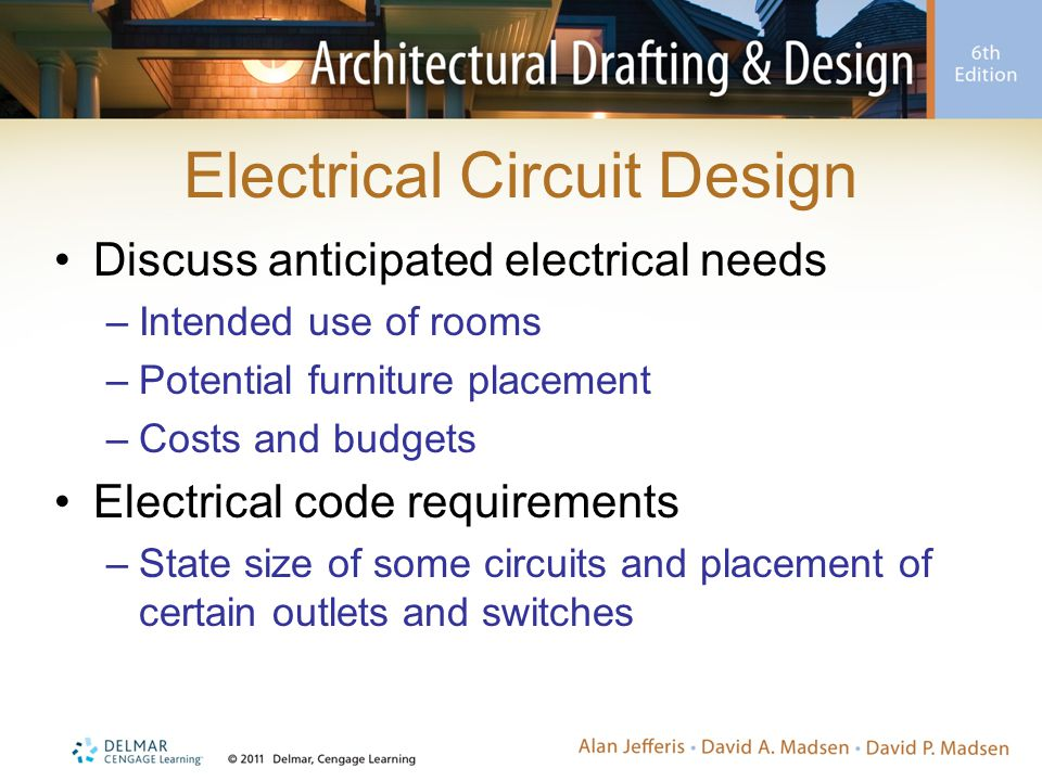 Electrical Circuit Design Discuss anticipated electrical needs –Intended use of rooms –Potential furniture placement –Costs and budgets Electrical code requirements –State size of some circuits and placement of certain outlets and switches