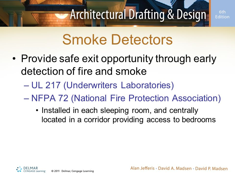 Smoke Detectors Provide safe exit opportunity through early detection of fire and smoke –UL 217 (Underwriters Laboratories) –NFPA 72 (National Fire Pr
