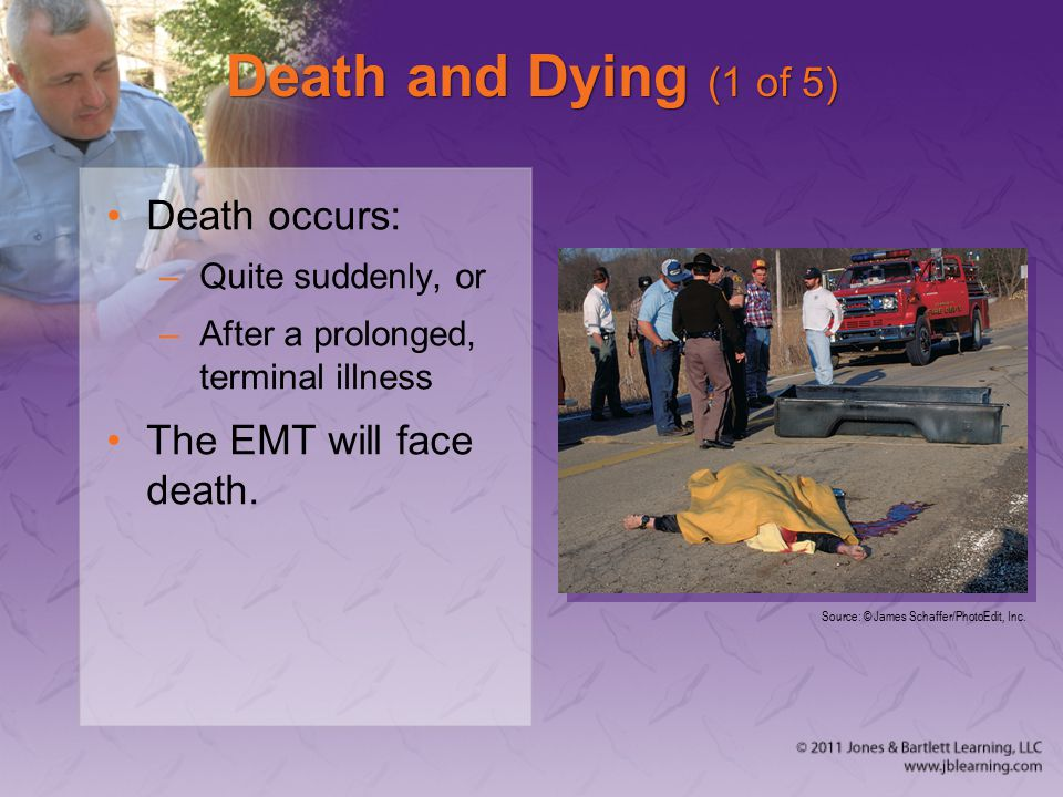 Death and Dying (1 of 5) Death occurs: –Quite suddenly, or –After a prolonged, terminal illness The EMT will face death.