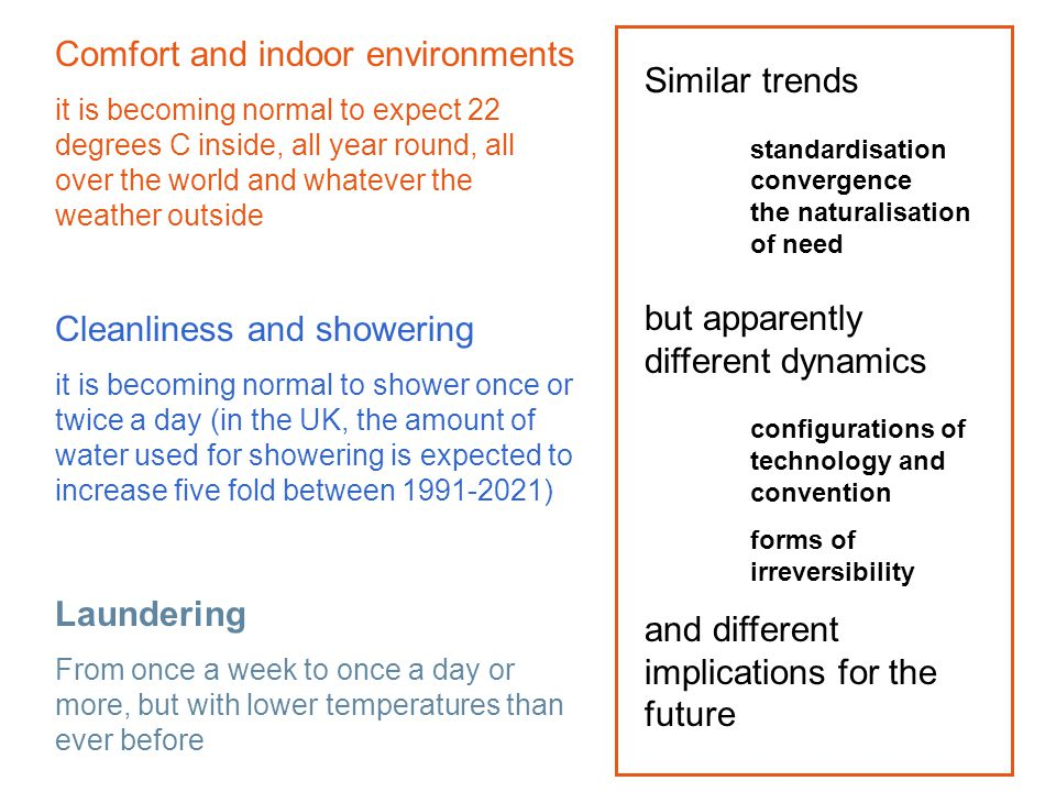 Comfort and indoor environments it is becoming normal to expect 22 degrees C inside, all year round, all over the world and whatever the weather outsi