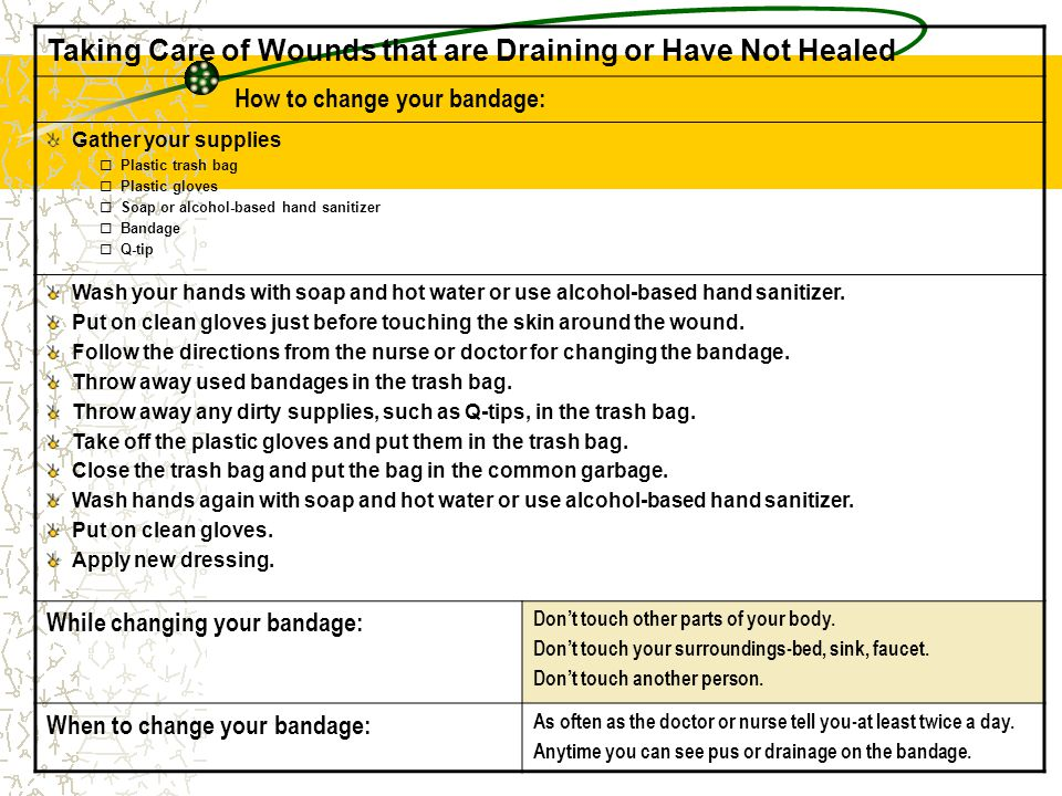Taking Care of Wounds that are Draining or Have Not Healed How to change your bandage: Gather your supplies  Plastic trash bag  Plastic gloves  Soa
