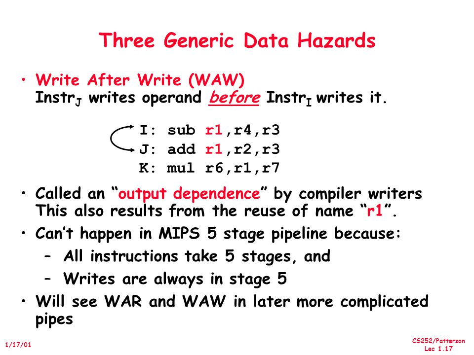 CS252/Patterson Lec 1.17 1/17/01 Three Generic Data Hazards Write After Write (WAW) Instr J writes operand before Instr I writes it.