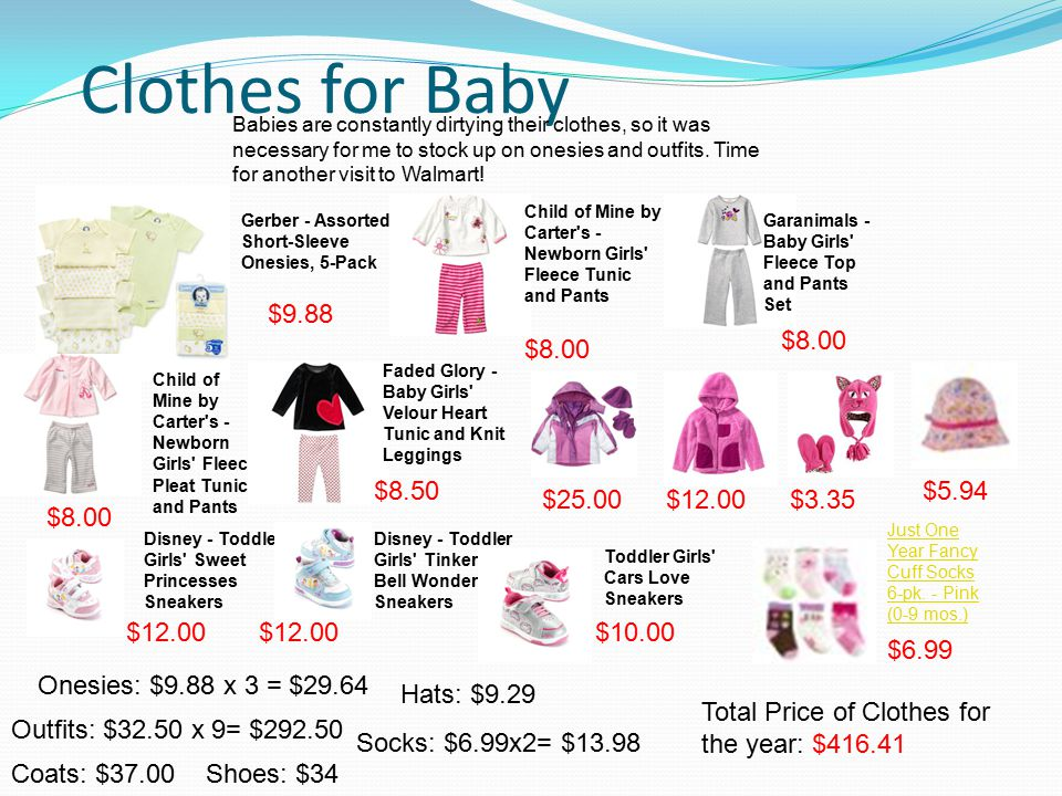 Clothes for Baby Babies are constantly dirtying their clothes, so it was necessary for me to stock up on onesies and outfits.