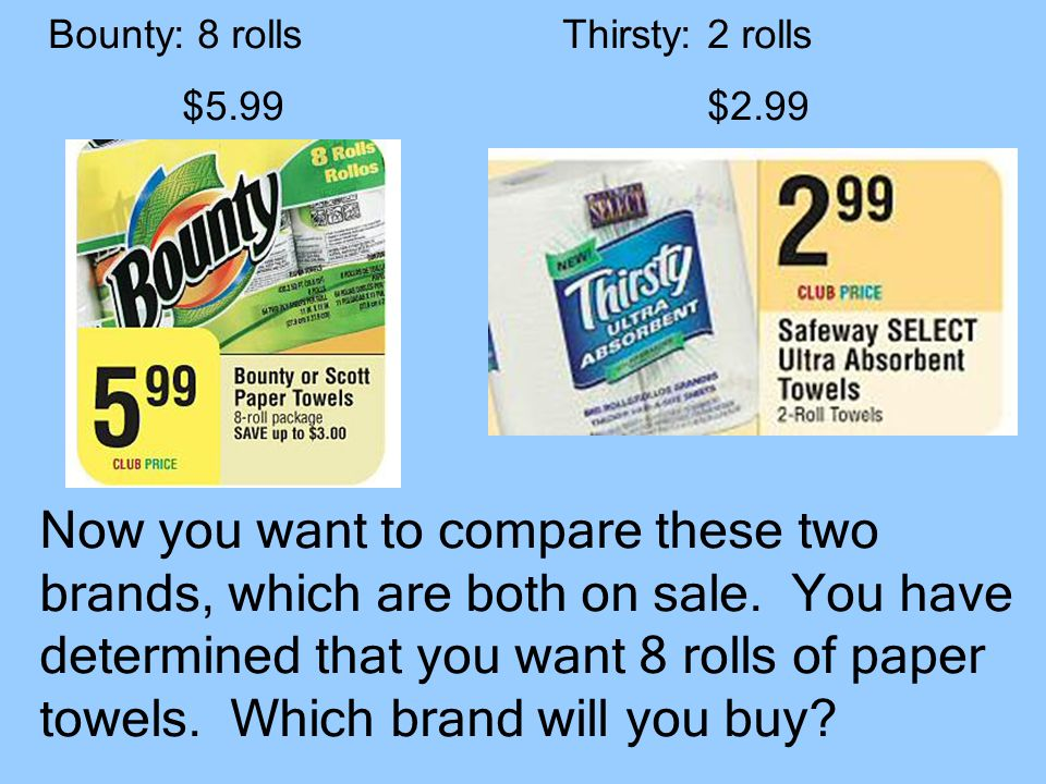 Now you want to compare these two brands, which are both on sale.
