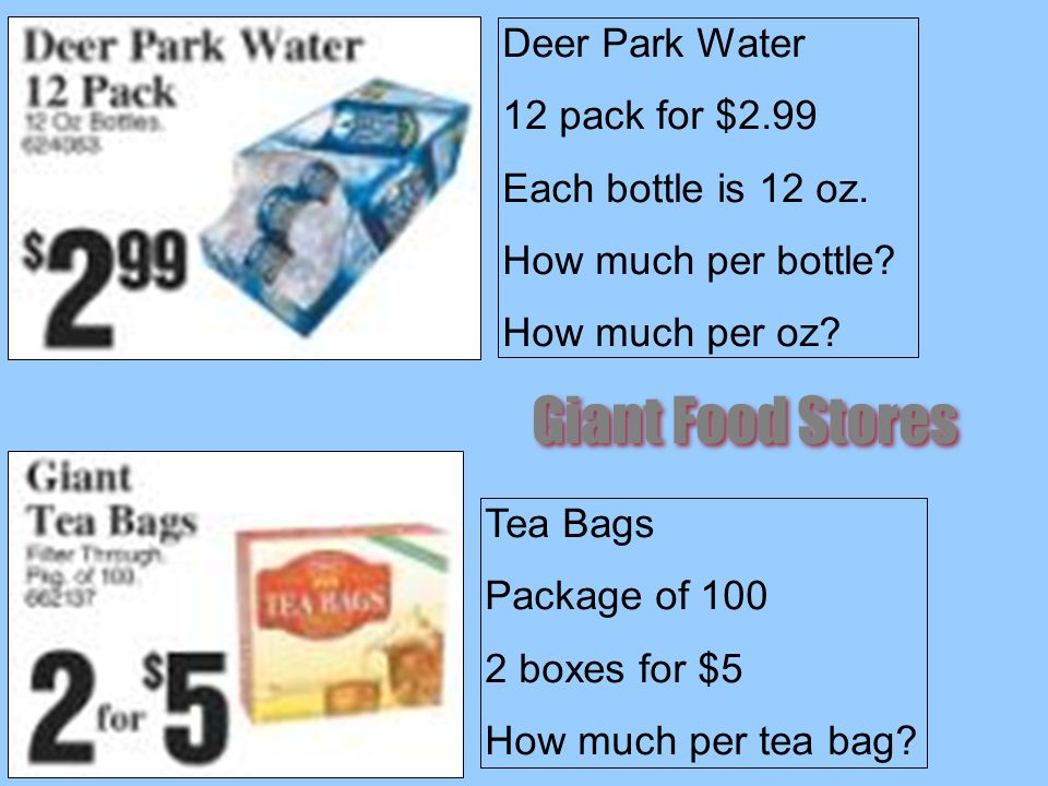 Deer Park Water 12 pack for $2.99 Each bottle is 12 oz.