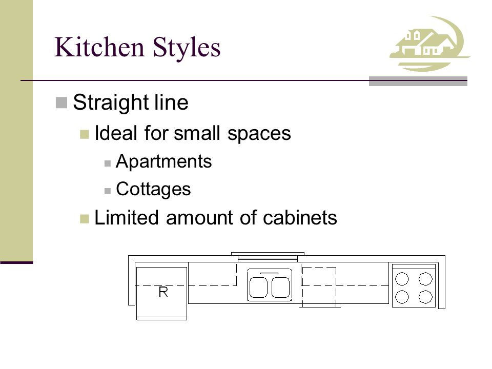 Kitchen Styles Straight line Ideal for small spaces Apartments Cottages Limited amount of cabinets