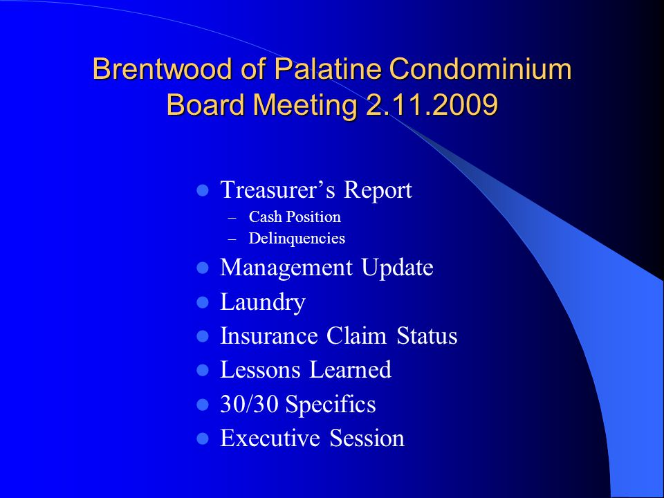 Brentwood of Palatine Condominium Board Meeting 2.11.2009 Treasurer's Report – Cash Position – Delinquencies Management Update Laundry Insurance Claim Status Lessons Learned 30/30 Specifics Executive Session