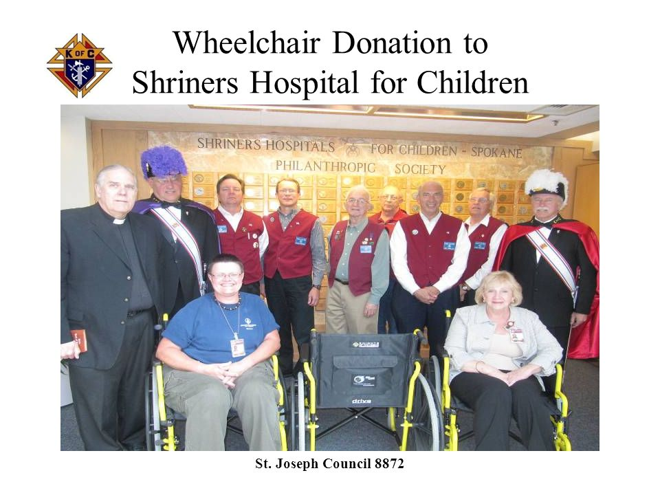 Wheelchair Donations to Catholic Charities of Spokane St. Joseph Council 8872