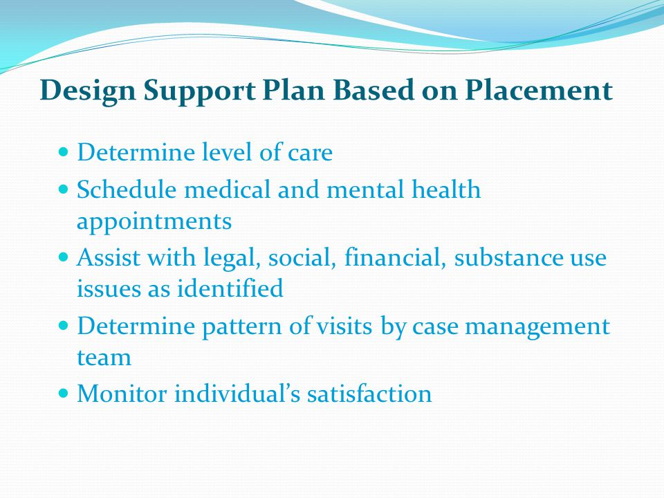 Design Support Plan Based on Placement Determine level of care Schedule medical and mental health appointments Assist with legal, social, financial, substance use issues as identified Determine pattern of visits by case management team Monitor individual's satisfaction